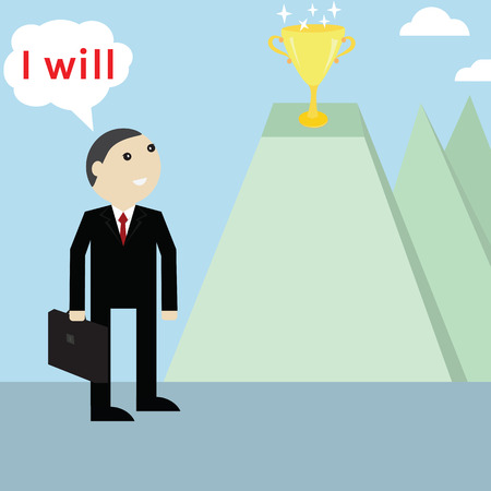 mention: Businessmanlooking for trophy reward,vector successful concept