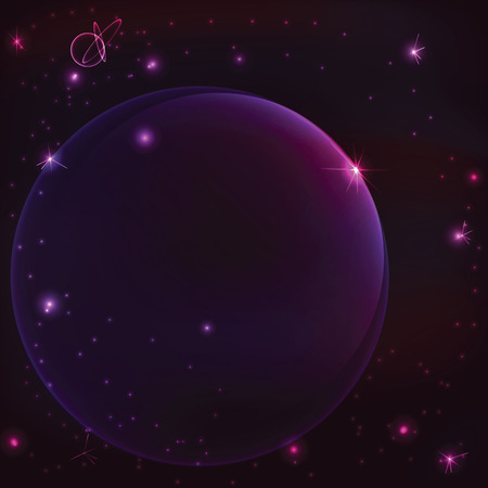 Eclipse space  with planet and shining star,vector background Vector