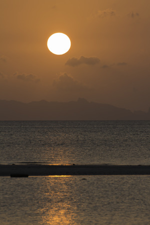 orange sunset: Golden orange sunset tropical sea background
