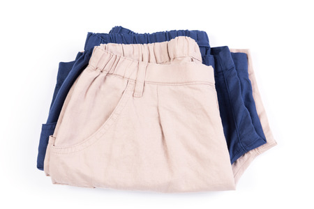 short pants: Brown and blue  short pants isolated on white Stock Photo