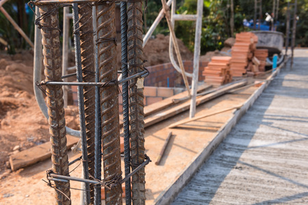 reinforcement: Steel mattress used for concrete rebar  into framework reinforcement for construction foundation site industry Stock Photo