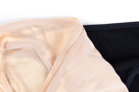 cotton panties: Pack of simple womens cotton panties isolated on white Stock Photo