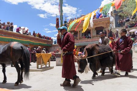tantric: Zanskar, Ladakh,India - July 15,2015: Lamas (monks) perform mask dances at Karsha Monastery in Zanskar valley.