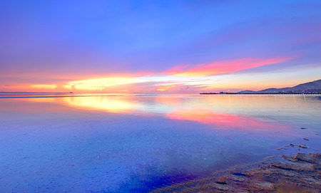 hdr background: HDR panoramic tropical vivid seascape sunset background