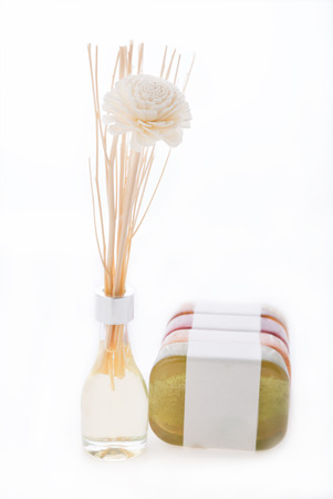 Spa aromatherapy products with essential oil and luffa soap isolated on white background