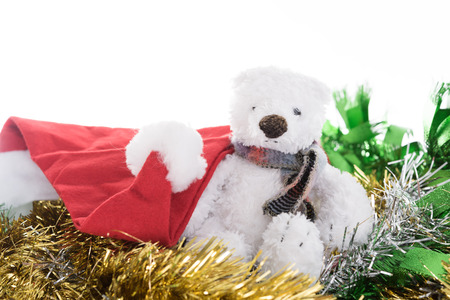 Cute  toy bear and Christmas golden ornaments border decoration on white background