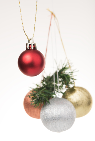 celebration: Group of Christmas balls,red,sillver and gold ball isolated on with background