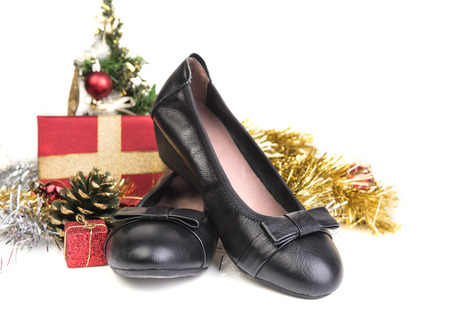 Christmas set with female black shoes gift decoration
