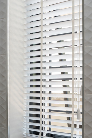 window coverings: White wood modern curtain blind background Stock Photo