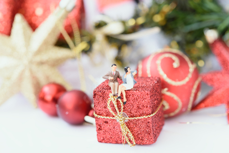 Miniature business people celebrate in season greeting,Christmas concept