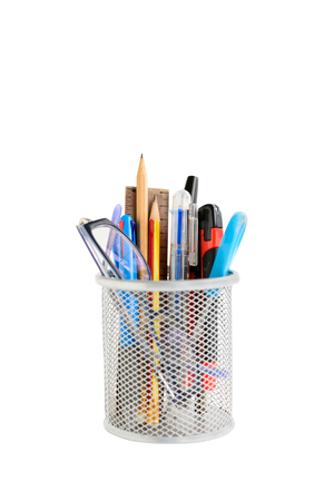 Pencils case with blue pen,scissors and eyeglasses isolated on white with path 스톡 콘텐츠