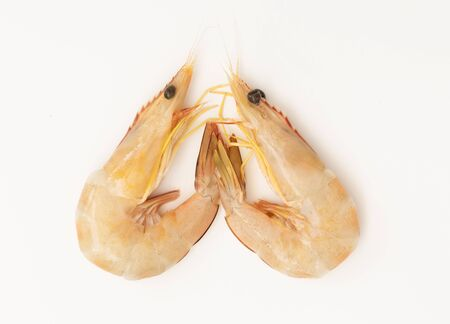 Raw fresh shrimps,prawns isolated on white background,top view