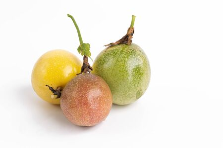 Mix Passion fruits on white background
