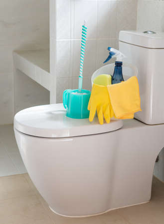 Basket of cleaning supplies on toilet bowl in modern bathroom