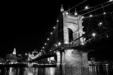 The Roebling Bridge spans the Ohio River at Cincinnati, Ohio