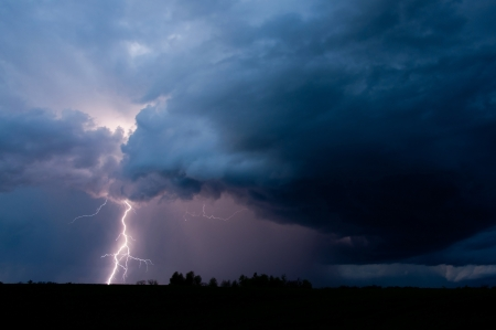 electric storm: Lightning strikes  during a thunderstorm