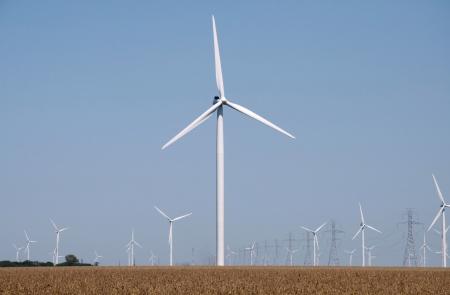 windfarm: Turbinas del parque e�lico en un electrcity generan