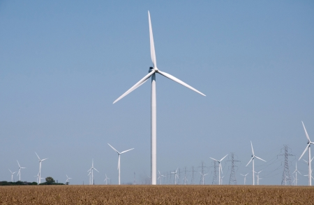 Turbines on a windfarm generate electrcity  photo
