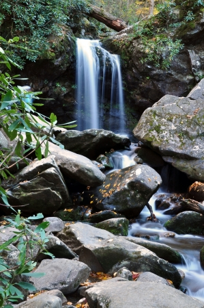 crick: Grotto Falls, near Gatlinburg, Tennessee  Stock Photo