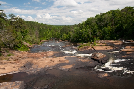 downstream: Looking downstream of High Falls on the Towaliga River in Georgia