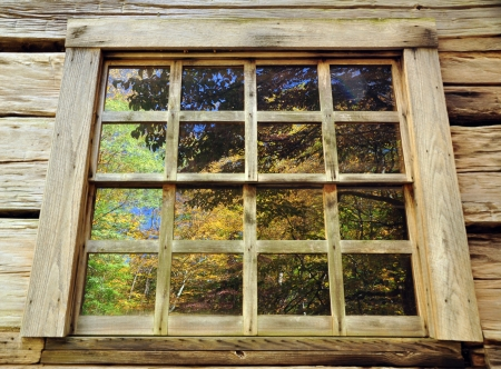 refelction: Fall tress are reflected in a cabin window