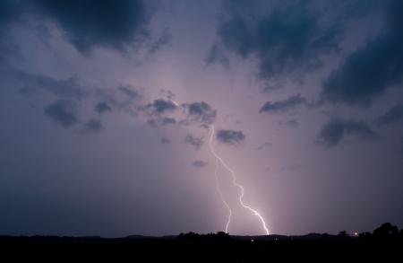 Lightening strikes in a storm