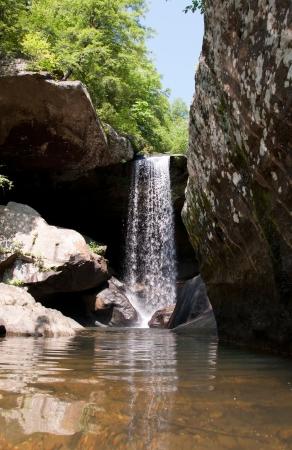 Water flows over Eagle Falls near Corbin, Kentucky.