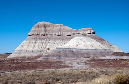 petrified fossil: A colorful mesa in the painted desert.
