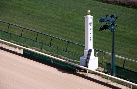 The finish line at historic Churchill Downs in Louisville, Kentucky.