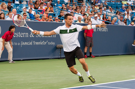 Mason, Ohio - August 18, 2015:  Roberto Bautista Agut at the Western and Southern Open in Mason, Ohio, on August 18, 2015.