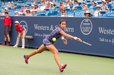 diyas: Mason, Ohio - August 17, 2015: Zarina Diyas at the Western and Southern Open in Mason, Ohio, on August 17, 2015. Editorial