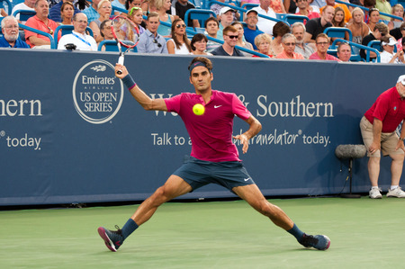 Mason, Ohio - August 18, 2015:  Roger Federer at the Western and Southern Open in Mason, Ohio, on August 18, 2015.