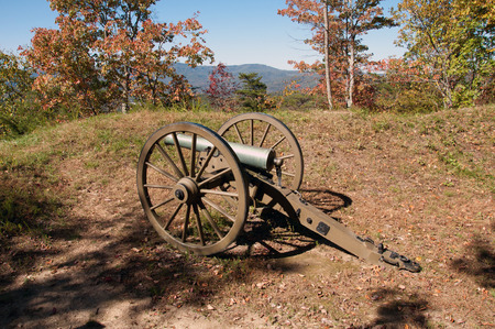 earthen: A Civil War cannon at the earthen fort, Ft McCook in the Cumberland Gap.