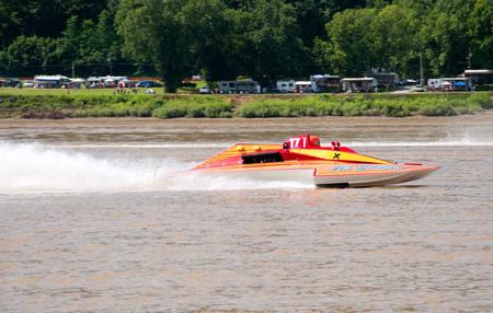 Madison, Indiana  - July 2, 2016:  Fred Shearer  in The 7th Edition GNH 17 races in the Grand National Saturday qualification heat #1 at the Madison Regatta in Madison, Indiana, July 2, 2016. Editorial