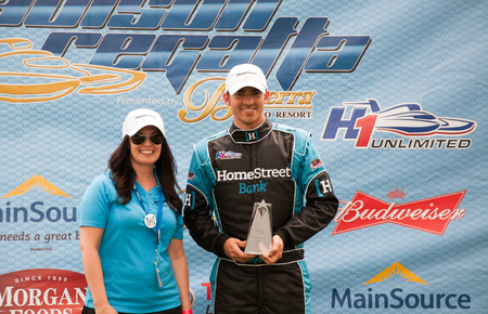 hydroplane: Madison, Indiana  - July 2, 2016:  Jimmy Shane accepts an award for winning the Clifty Engineering and Tool Company Unlimited Heat 1A at the Madison Regatta in Madison, Indiana, July 2, 2016. Editorial
