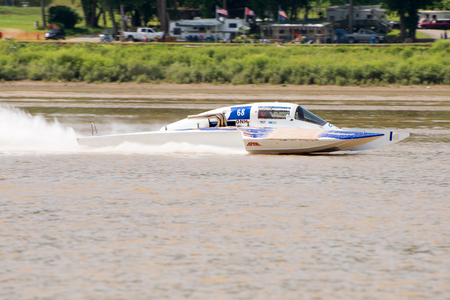 Madison, Indiana  - July 2, 2016:  Danny Wall in the GNH 68 races in the Grand National Saturday qualification heat #1 at the Madison Regatta in Madison, Indiana, July 2, 2016.