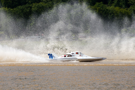 Madison, Indiana  - July 2, 2016:  Matt Mattson drives the GNH 76 in the Grand National Saturday qualification heat #1 at the Madison Regatta in Madison, Indiana, July 2, 2016.