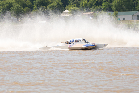 hydroplane: Madison, Indiana  - July 2, 2016:  Danny Walls drives the GNH 68 hydroplane at the Madison Regatta in Madison, Indiana, July 2, 2016. Editorial