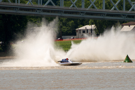 Madison, Indiana  - July 2, 2016:  Andy Denka drives the GNH 1 in the Grand National Hydroplane Qualification Heat #1 at the Madison Regatta in Madison, Indiana, July 2, 2016.