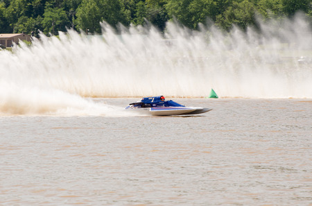 hydroplane: Madison, Indiana  - July 2, 2016:  Andy Denka in the GNH 1 races in the National Modified Saturday qualification heat #2 at the Madison Regatta in Madison, Indiana, July 2, 2016. Editorial