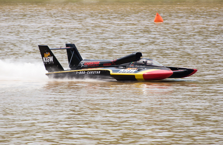 hydroplane: Madison, Indiana  - July 2, 2016:  Kevin Eacret drives the Leland Unlimited U-99.9 hydroplane in testing at the Madison Regatta in Madison, Indiana, July 2, 2016. Editorial