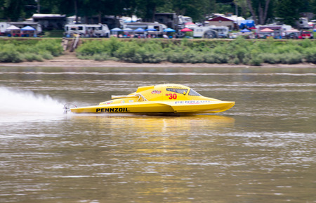 Madison, Indiana  - July 2, 2016:  Scott Liddycoat drives the NM 30 in the National Modified Saturday qualification heat #3 at the Madison Regatta in Madison, Indiana, July 2, 2016.