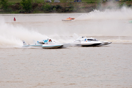 madison: Madison, Indiana  - July 2, 2016:  Drivers racing in the  Grand National Hydroplane Final at the Madison Regatta in Madison, Indiana, July 2, 2016. Editorial