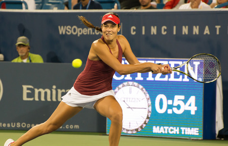 atp: Mason, Ohio - August 15, 2016: Ana Ivonavic in match against Donna Vekic at the Western and Southern Open in Mason, Ohio, on August 15, 2016. Editorial