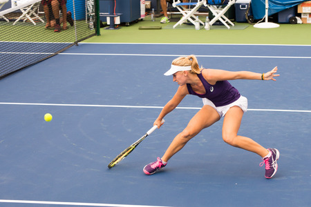 atp: Mason, Ohio - August 13, 2016: Daria Gavrilova in a qualifying match versus Mona Barthel at the Western and Southern Open in Mason, Ohio, on August 13, 2016.