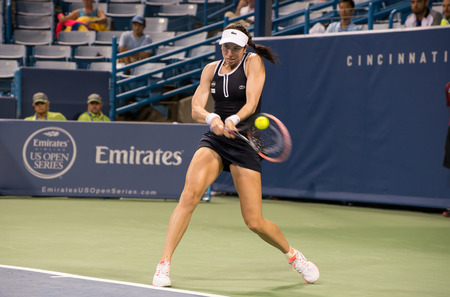 Mason, Ohio - August 15, 2016: Christina McHale in match at the Western and Southern Open in Mason, Ohio, on August 15, 2016. Editorial