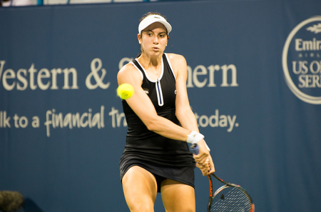 forehand: Mason, Ohio - August 15, 2016: Christina McHale in match at the Western and Southern Open in Mason, Ohio, on August 15, 2016. Editorial