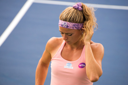forehand: Mason, Ohio - August 13, 2016: Camila Giogi in a qualifying match at the Western and Southern Open in Mason, Ohio, on August 13, 2016.