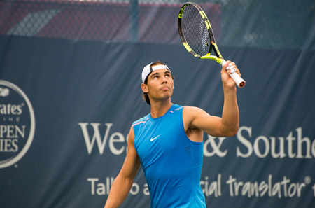 oh: Mason, Ohio - August 16, 2016: Rafael Nadal practices at the Western and Southern Open in Mason, Ohio, on August 16, 2016.