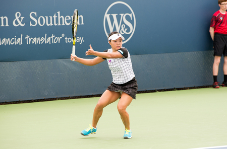 atp: Mason, Ohio - August 13, 2016: Kurumi Nara in a qualifying match at the Western and Southern Open in Mason, Ohio, on August 13, 2016.